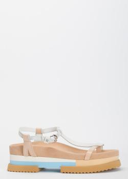 Бежевые сандалии FABI на толстой подошве, фото