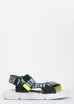 Черные сандалии Bikkembergs с фирменной надписью, фото