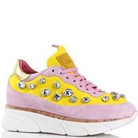 Кроссовки Blumarine розовые с желтыми вставками и крупными стразами, фото