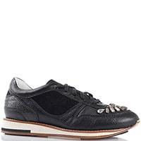 Кожаные кроссовки Lanvin черные с крупными стразами, фото