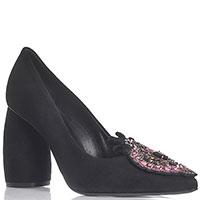 Туфли черные замшевые Strategia с украшением из камней, фото