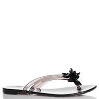Черные сланцы Le Silla с декором-цветком из страз, фото