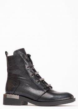Черные ботинки Lab Milano с декором на шнуровке, фото