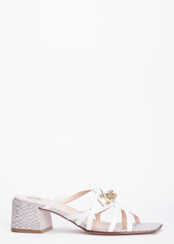 Белые мюли Hestia Venezia с тиснением под рептилию, фото