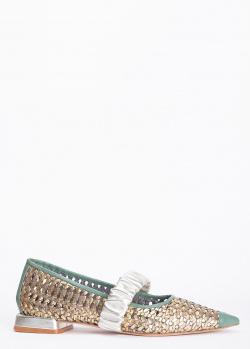 Золотистые балетки Hestia Venezia с острым носком, фото