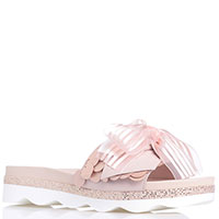 Розовые шлепанцы Tosca Blu с декором-бантом, фото