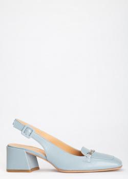 Голубые лоферы Giovanni Fabiani с квадратным носком, фото