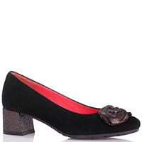 Замшевые туфли Pas De Rouge черного цвета с декором на носке, фото
