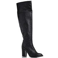 Кожаные сапоги-ботфорты Fru.It Now черного цвета на устойчивом каблуке, фото