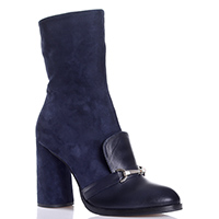 Синие ботинки Helena Soretti из комбинации кожи и замши, фото