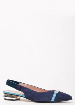 Туфли-слингбеки Ilasio Renzoni синего цвета, фото