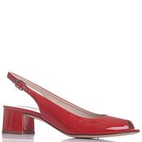 Красные лаковые босоножки Lorbac на устойчивом каблуке, фото
