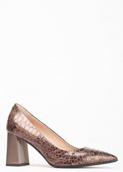 Коричневые туфли Ilasio Renzoni с тиснением под змею, фото