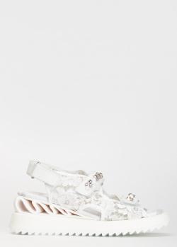 Белые сандалии Le Silla с декором-камнями, фото