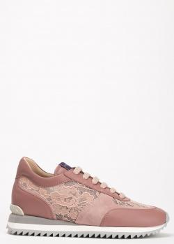 Розовые кроссовки Le Silla с кружевом, фото