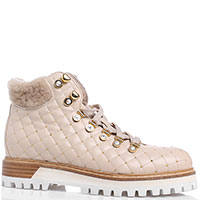 Стеганные ботинки Le Silla из кожи бежевого цвета, фото
