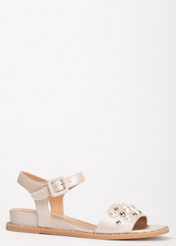 Бежевые сандалии Marino Fabiani с жемчужинами, фото