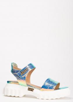 Сандалии Marino Fabiani голубого цвета с перламутром, фото