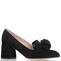 Черные туфли Alberto Gozzi с тупым носочком из замши, фото