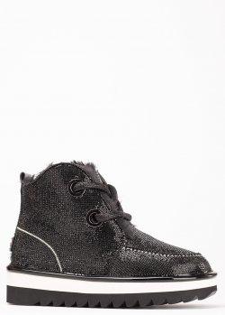 Черные ботинки Ilasio Renzoni с декором-стразами, фото