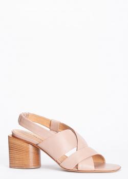Бежевые босоножки Halmanera на устойчивом каблуке, фото