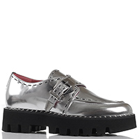 Кожаные туфли Alberto Gozzi серебристого цвета с металлическим блеском, фото