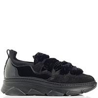Черные кроссовки Alberto Gozzi с текстильными шнурками, фото