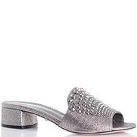 Шлепанцы серебристого цвета Le Silla на толстом каблуке, фото