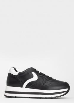 Кроссовки из гладкой кожи Voile Blanche черного цвета, фото