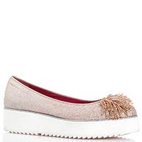 Золотые туфли Alberto Gozzi с декором-бисером на носке, фото