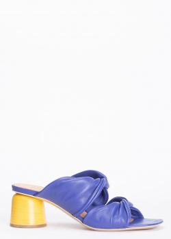 Мюли из кожи Halmanera на желтом каблуке, фото