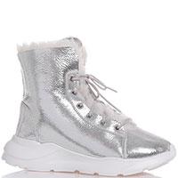 Серебристые ботинки Gianni Renzi на меху, фото