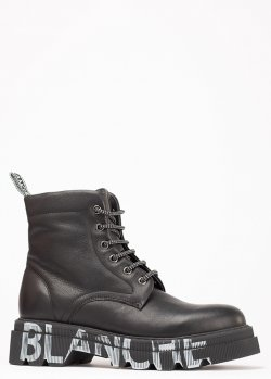 Кожаные ботинки Voile Blanche с принтом на подошве, фото