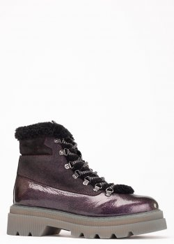 Лаковые ботинки Voile Blanche бордового цвета, фото