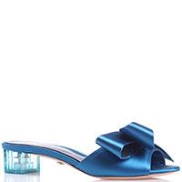 Атласные мюли Le Silla на прозрачном каблуке, фото