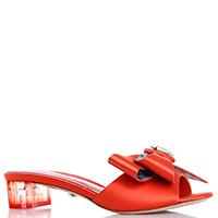 Мюли Le Silla красного цвета с декором-бантом, фото