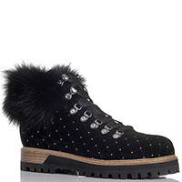 Ботинки велюровые Le Silla черного цвета на меху со стразами, фото