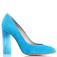 Голубые туфли Casadei на прозрачном устойчивом каблуке, фото