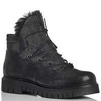 Зимние меховые ботинки Fru.It черного цвета со стразами, фото
