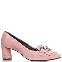 Туфли розового цвета Casadei на устойчивом каблуке, фото