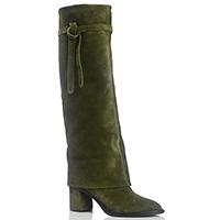 Замшевые высокие сапоги Casadei зеленого цвета на среднем каблуке, фото
