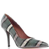 Туфли с острым носочком Givenchy из тисненной под рептилию кожи зеленого цвета, фото