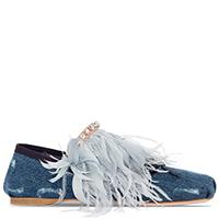 Джинсовые эспадрильи Miu Miu с перьями, фото