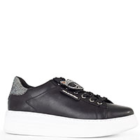 Черные кроссовки Karl Lagerfeld с черепом на шнурках, фото