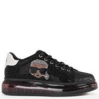 Черные кроссовки Karl Lagerfeld с черепом и стразами, фото