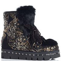 Черные ботинки Marzetti с золотистым узором, фото