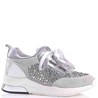 Замшевые кроссовки Liu Jo серого цвета с атласными элементами, фото