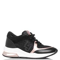 Кроссовки черные Liu Jo с золотистыми вставками, фото