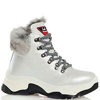 Белые ботинки Lab Milano утепленные мехом, фото