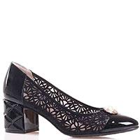 Черные туфли Ilasio Renzoni с перфорацией и лаковыми элементами, фото